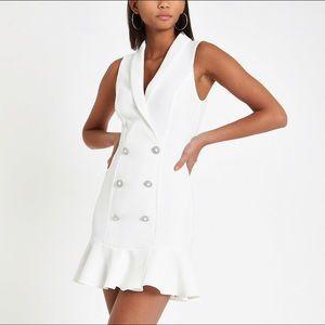 River Island White Tux Dress with Peplum size 2